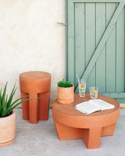 Vilena terracotta coffee table, 60 cm