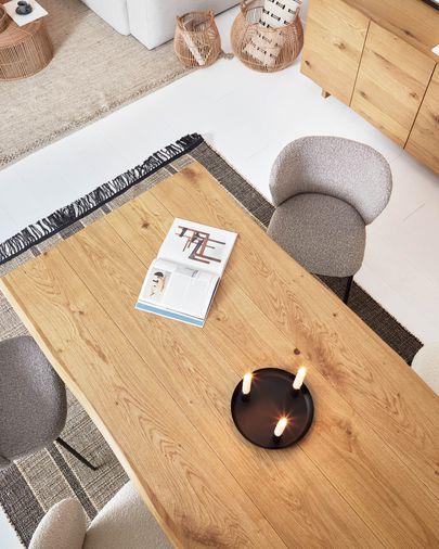 Table Lotty 220 x 100 cm en contreplaqué de chêne et pieds en acier