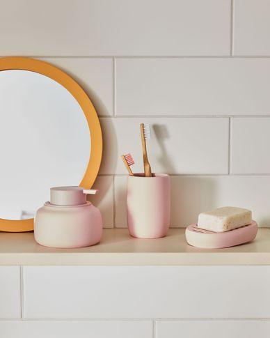 Chia pink polyresin soap dish