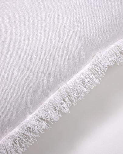 Funda cojín Almira algodón y lino flecos blanco 45 x 45 cm