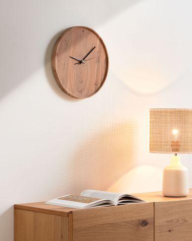 Reloj de pared redondo Zakie de madera maciza de acacia acabado natural Ø 30 cm