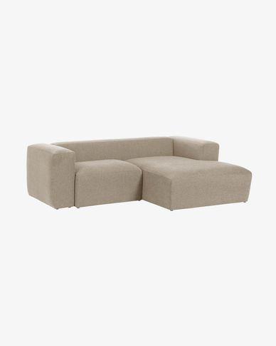 Beige Blok 2-seater sofa with right chaise longue 240 cm