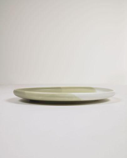 Plato plano Sayuri de porcelana verde y blanco