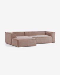 Blok 3-Sitzer Sofa mit Chaiselongue links in rosa Cord 300 cm