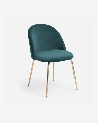 Chaise Ivonne velours turquoise