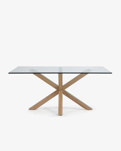 Taula Argo 160 cm cristall potes efecte fusta