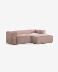 2-zitsbank Blok roze corduroy met chaise longue rechts 240 cm