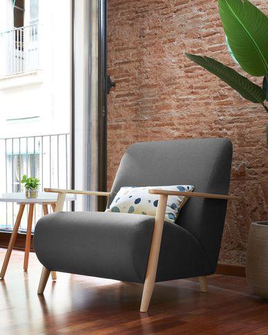 Meghan Sessel aus anthrazit und massiven Eschenholzbeinen mit natürlichem Finish
