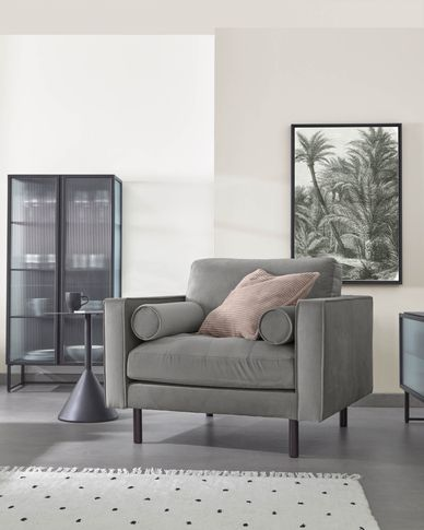 Debra grey velvet armchair