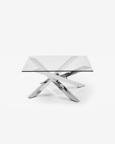 Mesa de centro Kamido cristal y patas de acero acabado cromado 90 x 90 cm