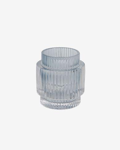 Candelabro Florentine de vidrio transparente y azul claro