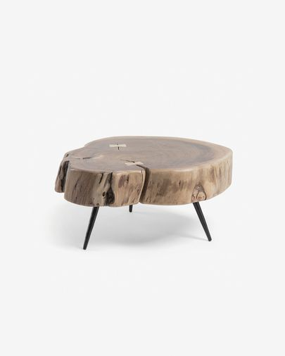 Mesa auxiliar Eider madera maciza de acacia y patas de acero acabado negro Ø 49 x 47 cm