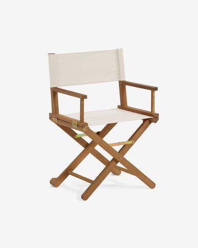 Cadira plegable d'exterior Dalisa beix i fusta massissa acàcia