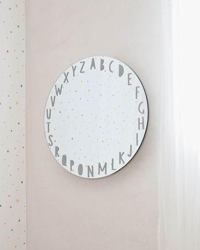 Espelho de parede redondo Keila abecedário cinzento Ø 50 cm