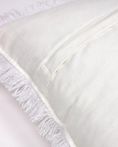 Almira wit katoen en linnen kussenhoes met franjes 45 x 45 cm