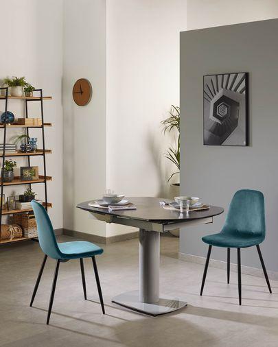 Cadeira Yaren veludo turquesa