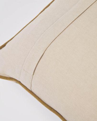 Funda cojín Kelaia 100 % algodón pana beige y borde marrón 45 x 45 cm