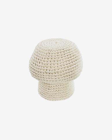 Poef Enrica paddestoelvormig in wit Ø 30 cm