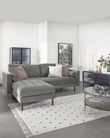 3-zitsbank Debra grijze velvet met voetenbank 222 cm