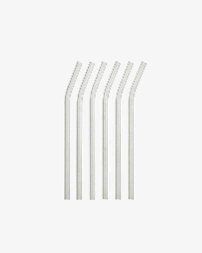 Gillia Set mit 6 wiederverwendbaren Strohhalmen aus klarem Glas