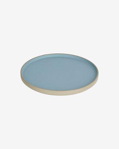 Piatto piano Midori in ceramica blu