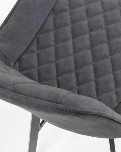 Taburete Adela grafito y acero con acabado negro altura 66 cm