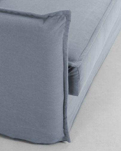 Slaapbank Samsa polyurethaan in blauw 140 cm