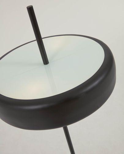 Lámpara de pie Francisca de metal con acabado negro y cristal