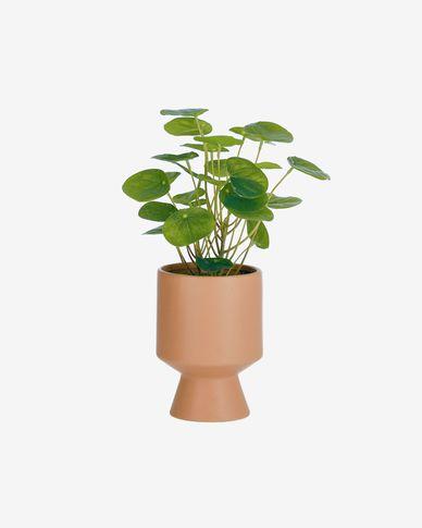 Kunstplant Bailey met roze keramische plantenbak 21,6 cm