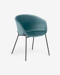 Chaise Yvette velours turquoise