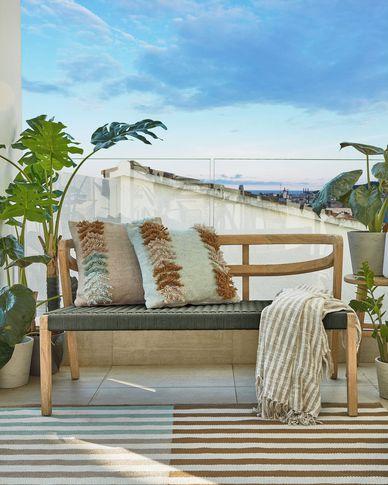 Poszewka na poduszkę ogrodową Dalila z PET z falbaną beżowa 45 x 45 cm