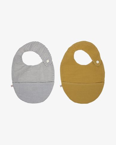 Set of two 100% organic cotton (GOTS) Manon bibs in mustard yellow and grey stripes