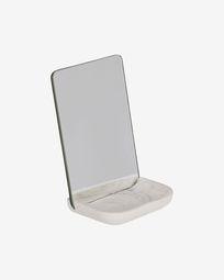 Espelho Sharif com base de polirresina branco
