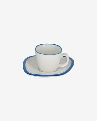Tasse à café avec soucoupe Odalin porcelaine blanc et bleu