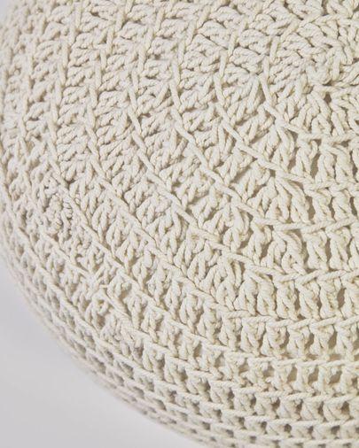 Puf redondo Fara de algodón blanco Ø 25 cm