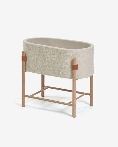Culla Adara in tessuto effetto lana bianco e legno massello difaggio 63 x 44,5 cm