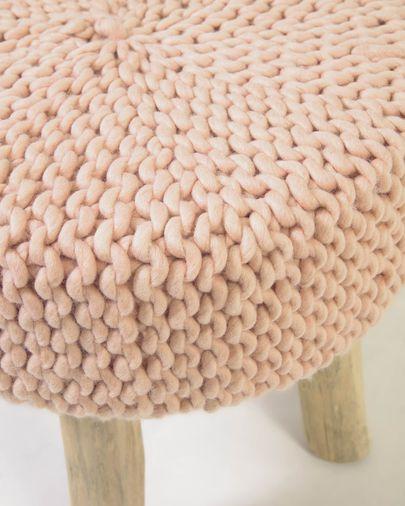 Reposapiés Beneda 100% lana rosa Ø 40 cm