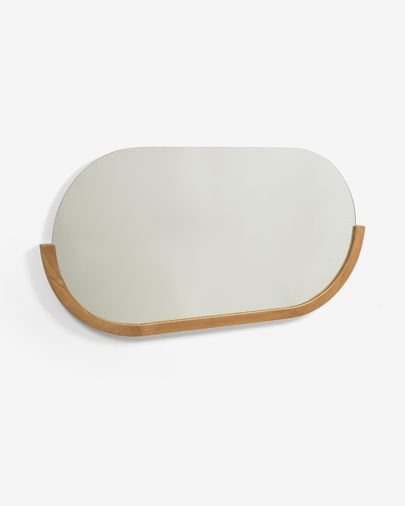 Espejo Rokia de madera maciza de teca 90 x 55 cm