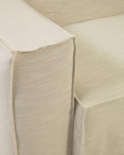 Blok 2-Sitzer Sofa mit abnehmbarem Bezug mit Chaiselongue links Leinen weiß 240 cm
