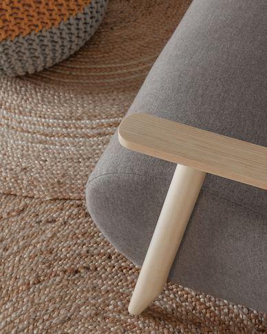 Meghan Sessel aus grauer und massiven Eschenholzbeinen mit natürlichem Finish