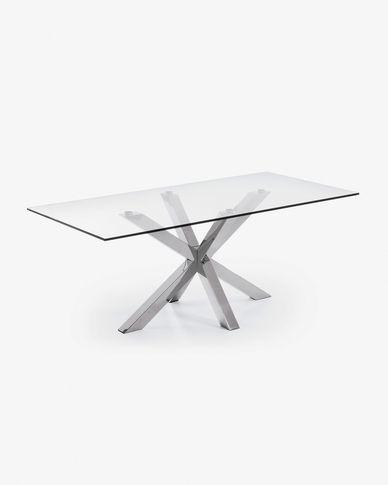 Argo table 180 cm glass stainless steel legs