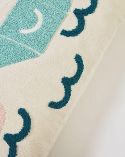 Samudra 100% cotton multi-coloured cushion cover with ducks 30 x 50 cm