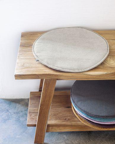 Sora round corduroy chair cushion in taupe, 35 cm