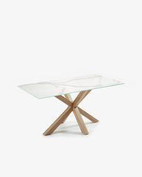 Mesa Argo 160 x 90 cm porcelánico patas de acero efecto madera