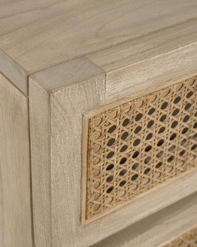 Cómoda Rexit 5 gavetas madeira maciça e chapa mindi com ratã 60 x 113 cm