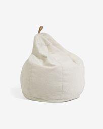 Vicka witte poef met schapenvacht, Ø 70 cm