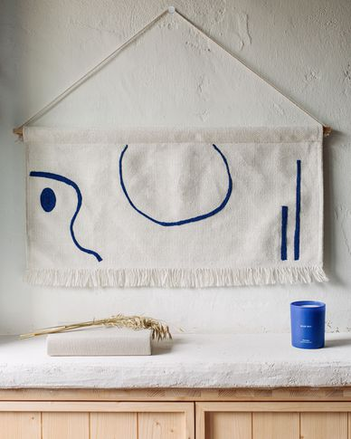 Gobelin ścienny Atal niebieskie figury 70 x 36 cm