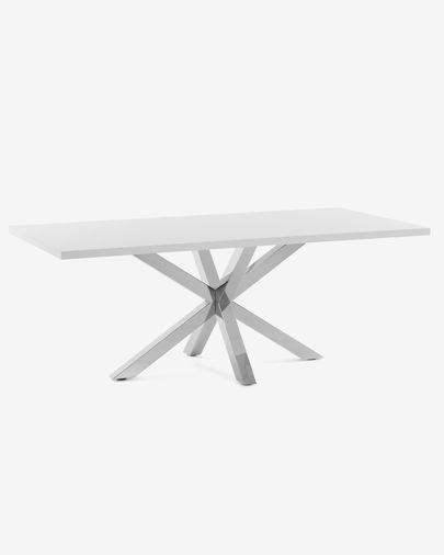 Argo Tisch 200 cm, weiss, Melamin, mit Tischbeinen aus rostfreiem Stahl