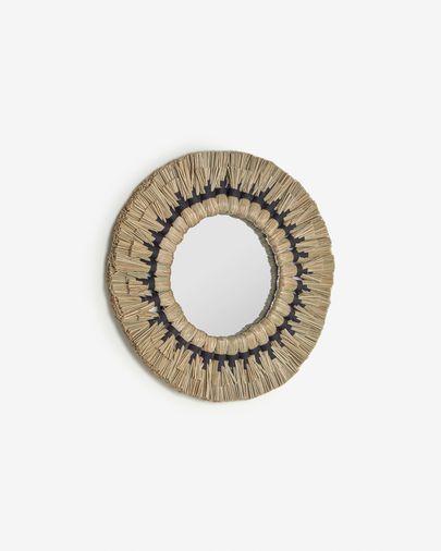 Miroir rond Akila fibres naturelles vert et corde coton noir  Ø 40 cm