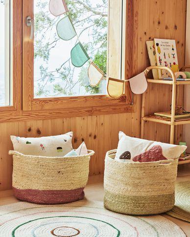 Adabel natural jute basket in pink